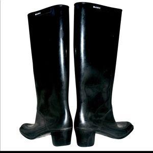 Marc Jacobs black rubber boots rain lace tie 8 sz